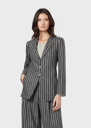 Giorgio Armani Pinstriped Flannel Jacket In Wool And Cashmere