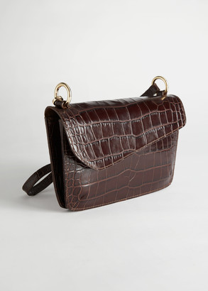 And other stories Asymmetric Flap Croc Shoulder Bag
