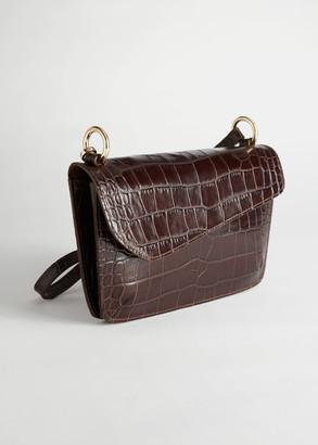 And other stories Asymmetric Flap Croc Shoulder Bag