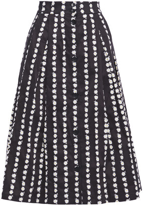 Maje Japhanie Floral-print Stretch-cotton Poplin Midi Skirt