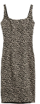 Banana Republic Petite Animal Print Sloan Sheath Dress