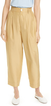 Vince Pleated Silk Crop Trousers
