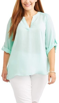 Lifestyle Attitudes Women's Plus Size Roll Cuff Contrast Top
