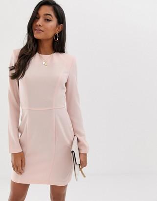 Asos DESIGN shoulder pad mini dress with seams