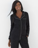 Soma Intimates Long Sleeve Notch Collar Pajama Top Glittered Black