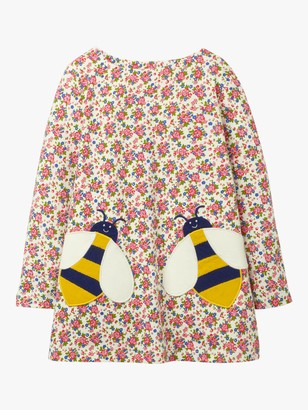 Boden Girls' Applique Pocket Floral Bee Tunic, Ivory Vintage Posy
