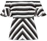 Lela Rose Off-the-shoulder Striped Cotton And Silk-blend Top - Black