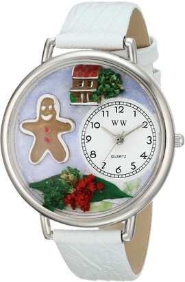 Whimsical Watches Christmas Gingerbread White Leather and Silvertone Unisex Quartz Watch with White Dial Analogue Display and Multicolour Leather Strap U-1220004