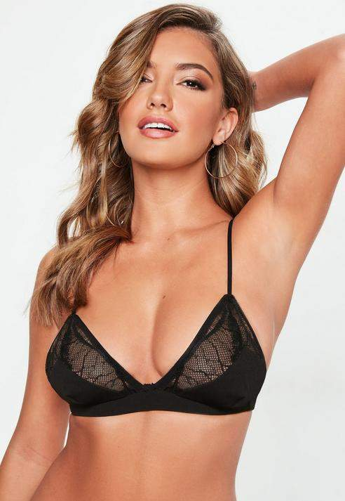 Missguided Mesh Panel Insert Soft Triangle Bra