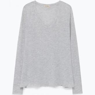 American Vintage Grey Jacksonville Long Sleeve T Shirt - X Small - Grey