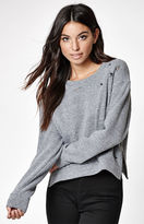 La Hearts Side Zip Destroyed Cropped Sweatshirt
