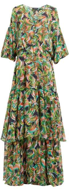 Saloni Nikki Printed Silk Crepe De Chine Maxi Dress - Womens - Green Multi