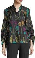 Josie Natori Balloon-Sleeve Nouveau-Print Silk Blouse