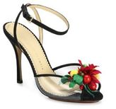 Charlotte Olympia Tropicana Embellished Satin & PVC Peep-Toe Sandals