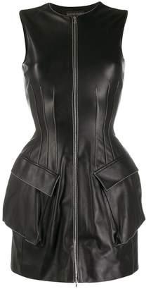David Koma structured leather mini dress