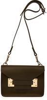 Khaki Leather Mini Envelope Crossbody Bag