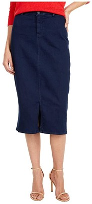 NYDJ Midi Skirt with Braided Belt Loops in Rinse (Rinse) Women's Skirt
