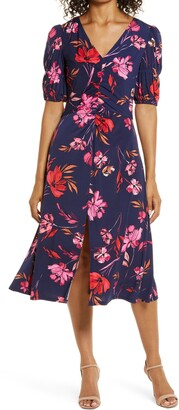 Vince Camuto Floral Ruched Front A-Line Midi Dress