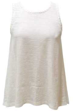 INC International Concepts Inc Embroidered-Trim High-Low Tank Top, Created for Macy's