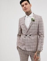 Twisted Tailor super skinny double breasted suit jacket in mini check