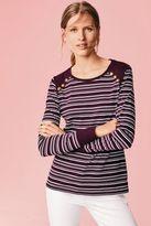 Next Womens Navy Long Sleeve Stripe Top