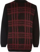 River Island Boys red checked sweater