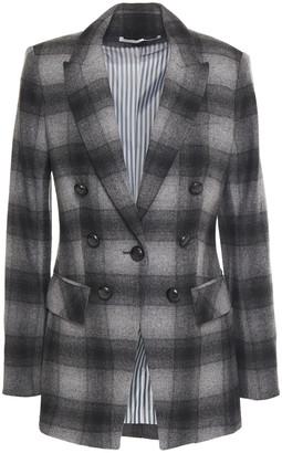 Veronica Beard Button-embellished Checked Wool-blend Blazer