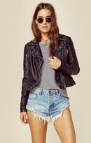 Free People vegan hooded moto jacket