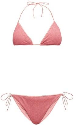 Oseree Lumiere Metallic Triangle Bikini - Womens - Pink
