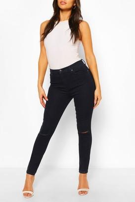boohoo High Rise Ripped Knee Stretch Skinny Jean