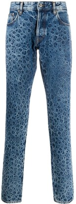 Just Cavalli Leopard Print Straight Leg Jeans