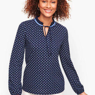 Talbots Pleated Tie Neck Top - Dot