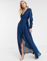 Asos Design DESIGN satin chiffon wrap maxi dress with tie detail and drape sleeve