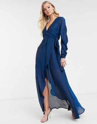 Asos Design DESIGN satin chiffon wrap maxi dress with tie detail and drape sleeve-Blue
