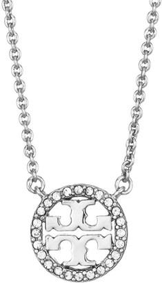 Tory Burch Silvertone & Swarovski Crystal Logo Necklace