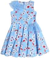Simonetta Floral Print Cotton Satin Party Dress