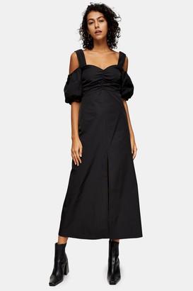 Topshop Womens Tall Black Taffeta Bardot Midi Dress - Black