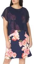 Evans Plus Size Women's Chiffon Overlay Floral Dress