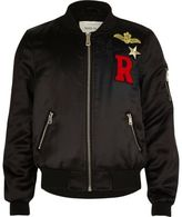River Island Girls black badge bomber jacket