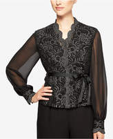 Alex Evenings Belted Lace & Chiffon Top