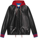 Gucci Leather bomber jacket with nylon hood