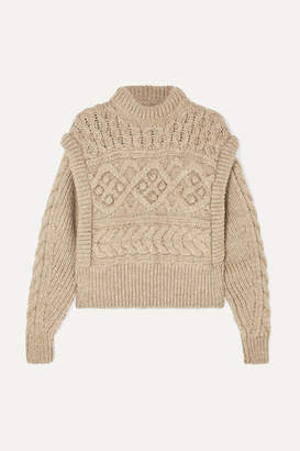 Isabel Marant Milane Cropped Cable-knit Merino Wool Sweater - Neutral