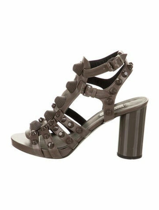 Balenciaga Studded Ankle Strap Sandals Grey