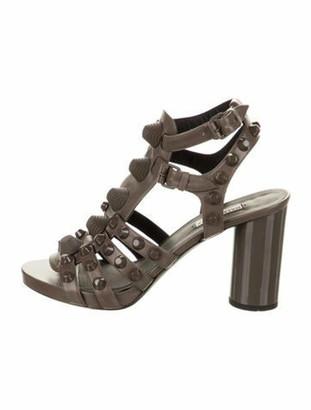 Balenciaga Studded Ankle Strap Sandals Grey