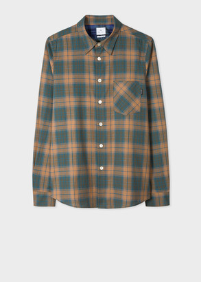Paul Smith Men's Tailored-Fit Khaki And Brown Check Cotton Shirt