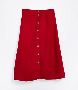 LOFT Linen Blend Button Front Midi Skirt