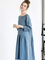 Etsy Linen dress with sleeves and DROP SIDES / Washed and soft linen dress in petrol blue