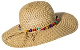 Merona Floppy Hat with Multicolored Beads - Tan