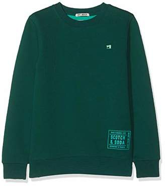 Scotch & Soda Boy's Basic Crewneck Sweat in Two-Tone Quality Sweatshirt,164 (Size: )