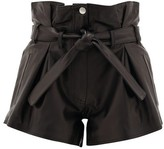 ATTICO The Pleated High-rise Leather Shorts - Womens - Black